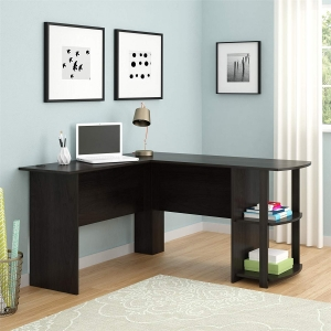 ihocon: Ameriwood Home Dakota L-Shaped Desk Bookshelves, Espresso L形書桌