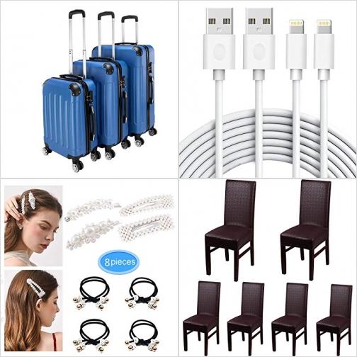 [Amazon折扣碼] 硬殼行李箱, iPhone 充電線, 髮夾及綁髮帶, 仿皮防水椅套 額外折扣!