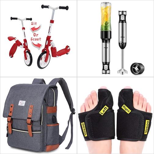 [Amazon折扣碼] 兒童Kick Scooters滑板車, 手持攪拌機Blender, 電腦背包, 姆指外翻矯正器 額外折扣!