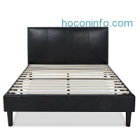 ihocon: Zinus Deluxe Faux Leather Upholstered Platform Bed with Wooden Slats, Queen人造皮床頭板床架