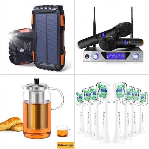 [Amazon折扣碼] 太陽能行動電源/充電寶, 雙頻道無線麥克風組, 玻璃泡茶壺, 電動牙刷替換刷頭(適用Philips) 額外折扣!