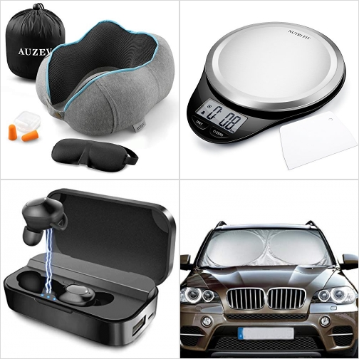 [Amazon折扣碼] 記憶棉旅行枕, 廚用電子秤, 真無線耳機, 汽車遮陽板 額外折扣!