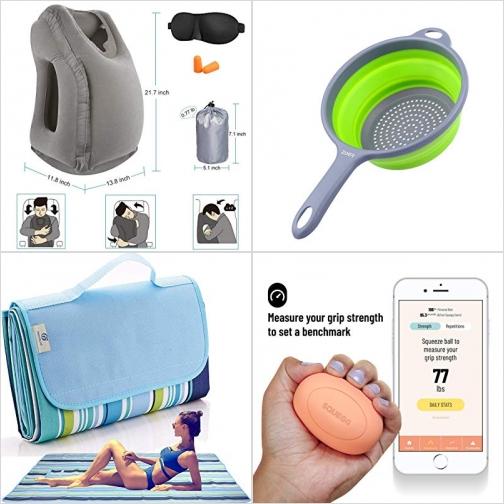 [Amazon折扣碼] 充氣旅行枕, 矽膠可壓扁濾勺, 防水野餐毯, 智能握力訓練/測量球 額外折扣!