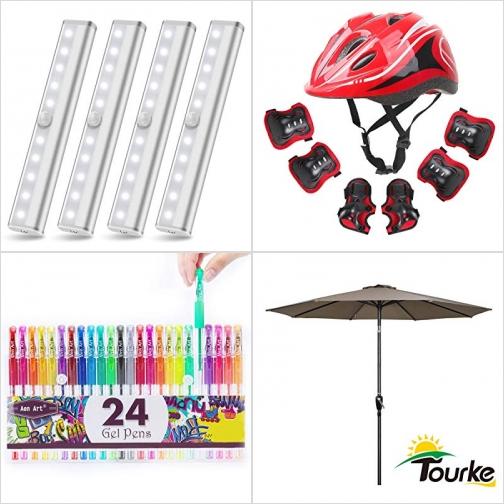 [Amazon折扣碼] 動作感應LED櫥櫃燈/夜燈, 兒童安全帽/護腕/護膝/護肘, Glitter Gel Pens, 庭園遮陽傘 額外折扣!