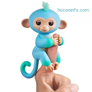 ihocon: Fingerlings 2Tone Monkey - Charlie (Blue with Green accents) - Interactive Baby Pet - By WowWee互動手指猴