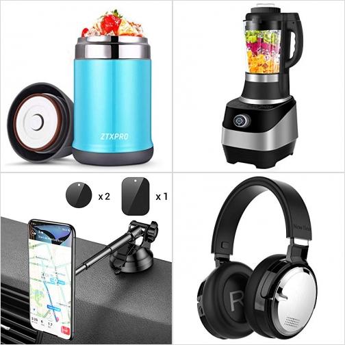 [Amazon折扣碼] 保温便當/食物罐, 4合1 Smoothie Blender, 汽車手機固定器, 藍芽無線主動消噪耳機 額外折扣!