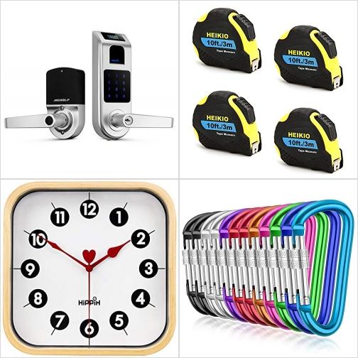[Amazon折扣碼] 指紋辨識電子門鎖, 伸縮尺, 靜音壁鐘, 登山釦 額外折扣!