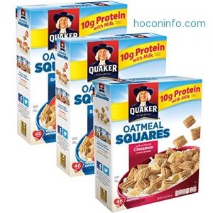 ihocon: Quaker Oatmeal Squares Breakfast Cereal 3盒