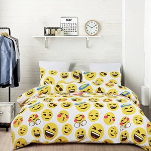 ihocon: Vaulia Lightweight Microfiber Duvet Cover Sets, with Hidden Zipper Closure, Lovely Emoji Pattern - Twin Size 輕質超細纖維羽絨被套,隱藏式拉鍊封口,可愛的表情符號圖案 - 雙人大小