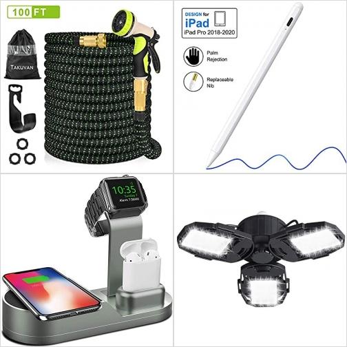 [Amazon折扣碼] 伸縮澆花水管, 觸控筆, 手機/手錶無線充電座, LED車庫燈 額外折扣!