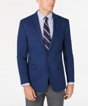 ihocon: Tommy Hilfiger Men's Modern-Fit THFlex Stretch Blue Plain Sport Coat 男士西服外套