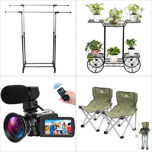 [Amazon折扣碼] 雙桿曬衣架, 金屬花架, 廣角攝影機, 含麥克風, 折疊休閒椅 額外折扣!