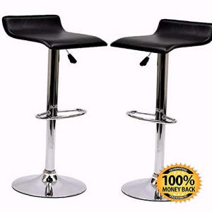 ihocon: ArtMuseKit Gloria Retro Modern Faux Leather Bar Stools in Black - Set of 2  人造皮吧台高腳椅 2個