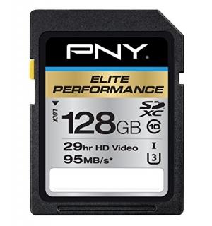 ihocon: PNY Elite Performance 128GB UHS-I / Class 10 633x SDXC Memory Card (Black)