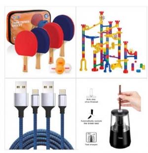 [Amazon折扣碼] 乒乓球拍, 軌道彈珠遊戲組, iPhone充電線, 電動削鉛筆機 額外折扣!