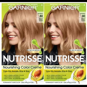 ihocon: Garnier Hair Color Nutrisse Nourishing Creme, 80 Medium Natural Blonde (Butternut), 2 Count 卡尼爾染髮劑