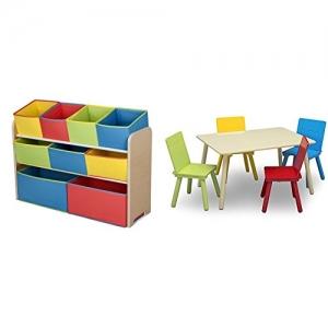 ihocon: Delta Children Deluxe Multi-Bin Toy Organizer & Kids Table and Chair Set, Natural/Primary 兒童玩具收納架及兒童桌椅