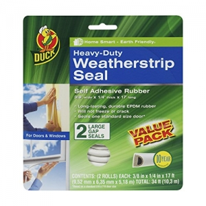 ihocon: Duck Brand Heavy-Duty Self Adhesive Weatherstrip Seal for Large Gap, White, 3/8-Inch x 1/4-Inch x 17-Feet, 2 Seals, 282434 自粘門窗隙縫密封條