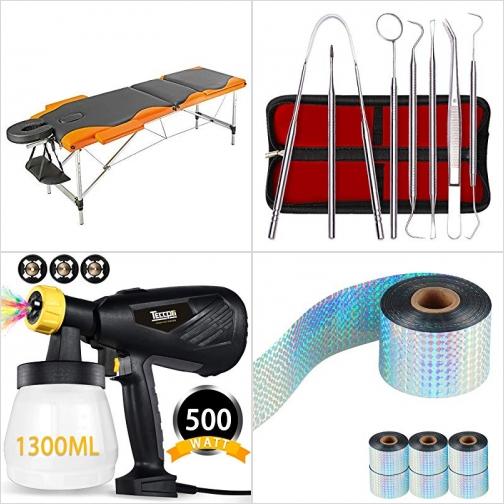 [Amazon折扣碼] 便攜折疊式按摩床, 牙醫潔牙工具組, 電動噴槍, 反光驅鳥條 額外折扣!
