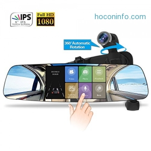 ihocon: Spedal Mirror Dash Cam,Touch Screen, Rear View Recorder Dash Cam with Parking Monitor,G-Sensor, Night Vision 雙鏡頭觸控行車記錄器