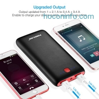 ihocon: Poweradd Pilot X7 20000mAh Power Bank Dual USB Port External Battery Pack with LED Flashlight for iPhone 7, iPad Pro, Galaxy S8 and More - Black+Red