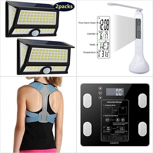[Amazon折扣碼] 太陽能動作感應庭園燈, LED護眼桌燈, 姿勢矯正帶, 體脂體重秤 額外折扣!
