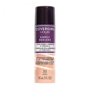 ihocon: COVERGIRL Simply Ageless 3-in-1 Liquid Foundation, Ivory 205, 1 oz (Packaging May Vary)   三合一粉底液-多色可選