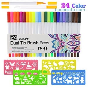 ihocon: [Non-Toxic & Odorless] Philonext 24 Colors Dual Tip Brush Marker Pens