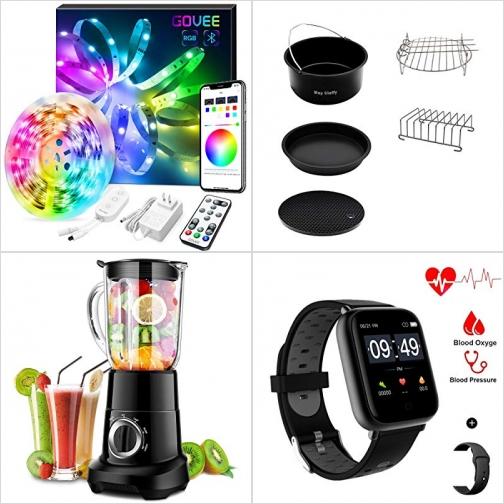 [Amazon折扣碼] 音樂同步閃爍LED燈條, 氣炸鍋配件, Smoothie Blender, 心率/運動追踪智能錶 額外折扣!