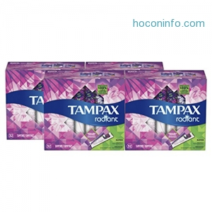 ihocon: Tampax Radiant Plastic Tampons,Super Absorbency, Unscented, 32 Count, Pack of 4 (Total 128 Count)