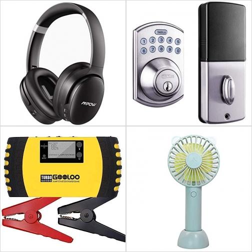 [Amazon折扣碼] 藍芽無線消噪耳機, 電子數字門鎖, 汽車啓動行動電源, 手持小電扇 額外折扣!