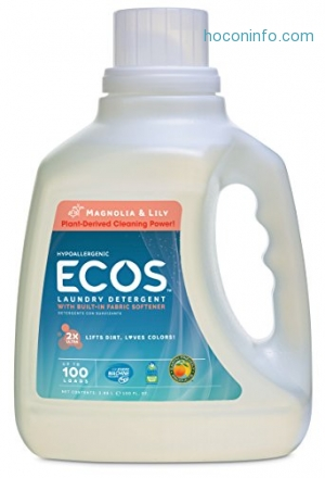 ihocon: Earth Friendly Products ECOS 2x Liquid Laundry Detergent, 200 Loads, 100 FL OZ (Pack of 2)洗衣劑2瓶