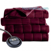 ihocon: Sunbeam Microplush Heated Blanket, King, Garnet 電熱毯