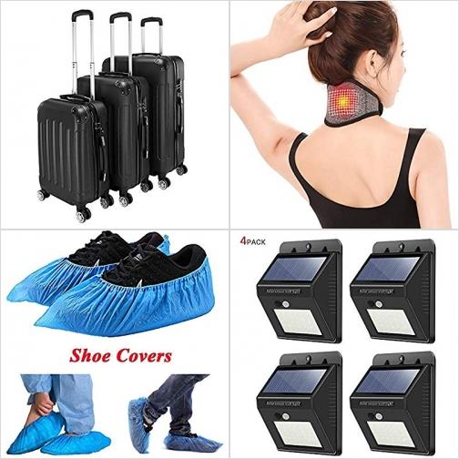 [Amazon折扣碼] 硬殼行李箱3個, 磁石頸圈, 抛棄式鞋套, 太陽能動作感應LED庭園燈 額外折扣!