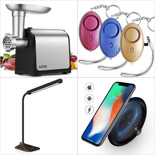 [Amazon折扣碼] 電動絞肉機, 防狼警報器3個, LED光線微調護眼桌燈, 手機無線充電板 額外折扣!