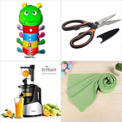 [Amazon折扣碼] 蒙特梭利穿衣學習毛蟲, 廚用剪刀, 慢磨榨汁機, 運動涼巾 額外折扣!