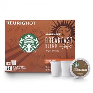 ihocon: Starbucks Breakfast Blend Medium Roast Single Cup Coffee for Keurig Brewers, 32 Count 咖啡膠囊