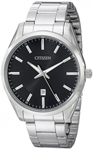 ihocon: Citizen Men's Black Dial Stainless Steel Watch 星辰/西鐵城男錶