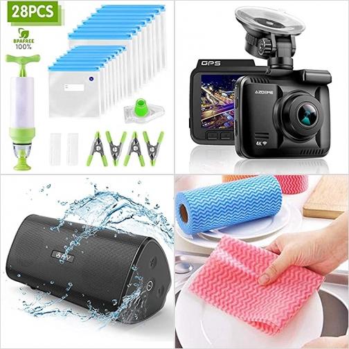 [Amazon折扣碼] 可重覆使用真空袋, 行車記錄器, 防水藍芽Speaker, 拋棄式洗碗巾 額外折扣!