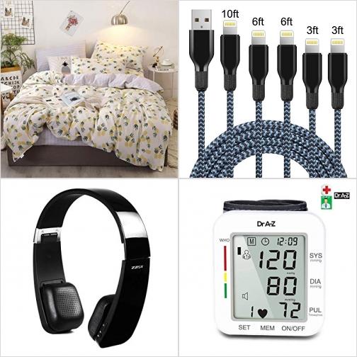 [Amazon折扣碼] 純棉Queen size被套, iPhone充電線, 藍芽無線耳機, 手腕血壓計 額外折扣!