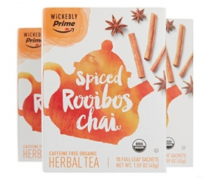 ihocon: Wickedly Prime Organic Spiced Rooibos Chai Tea, Premium Herbal Tea Sachets, 15 Count (Pack of 3)
