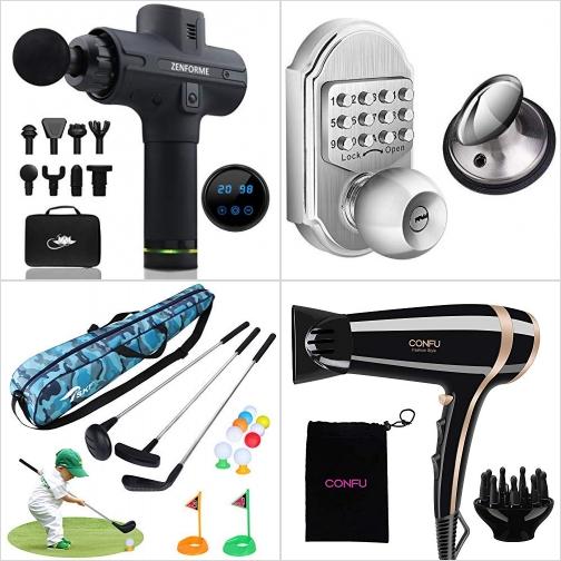 [Amazon折扣碼] 深層按摩槍, 密碼門鎖, 兒童高爾夫桿玩具, 離子吹風機 額外折扣!