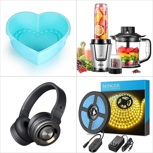 [Amazon折扣碼] 心形矽膠蛋糕模, Smoothie Blender, 藍芽無線耳機, 光線微調LED Light Strip 額外折扣!