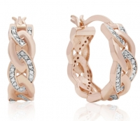 ihocon: ELEGANT DIAMOND HOOP EARRINGS, ROSE GOLD OVERLAY, 3/4 INCH