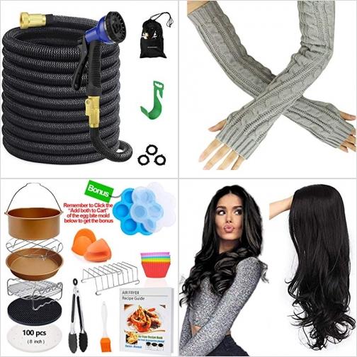 [Amazon折扣碼] 伸縮澆花水管, 保暖臂套, 氣炸鍋配件, 女士假髮 額外折扣!
