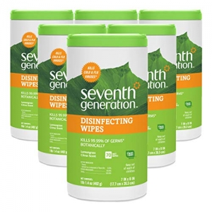 ihocon: Seventh Generation Disinfecting Multi-Surface Wipes, Lemongrass Citrus, 70 count Tubs (Pack of 6) 消毒濕巾