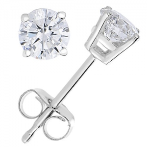 ihocon: 14K White Gold 1/4 cttw Diamond Stud Earrings with Gift Box 14K白金1/4克拉鑽石耳環
