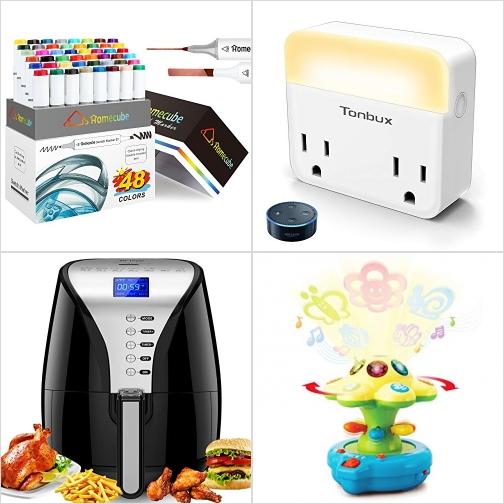 [Amazon折扣碼] 48色雙頭彩色筆, 無線智能夜燈插座, 氣炸鍋3.8QT, 聲光投影玩具 額外折扣!