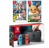 ihocon: Nintendo Switch Console with Neon Blue/Red Joycon Controllers, Super Smash Bros and Pokemon Lets Go, Eevee!