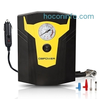 ihocon: DBPOWER 12V DC Portable Electric Auto Air Compressor Pump to 150 PSI, Tire Inflator with Gauge, 3 High-air Flow Nozzles & Adaptors for Cars, Bicycles and Basketballs (Black and Yellow)